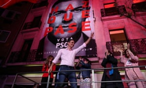 Pedro Sanchez celebrates the election result in Madrid.