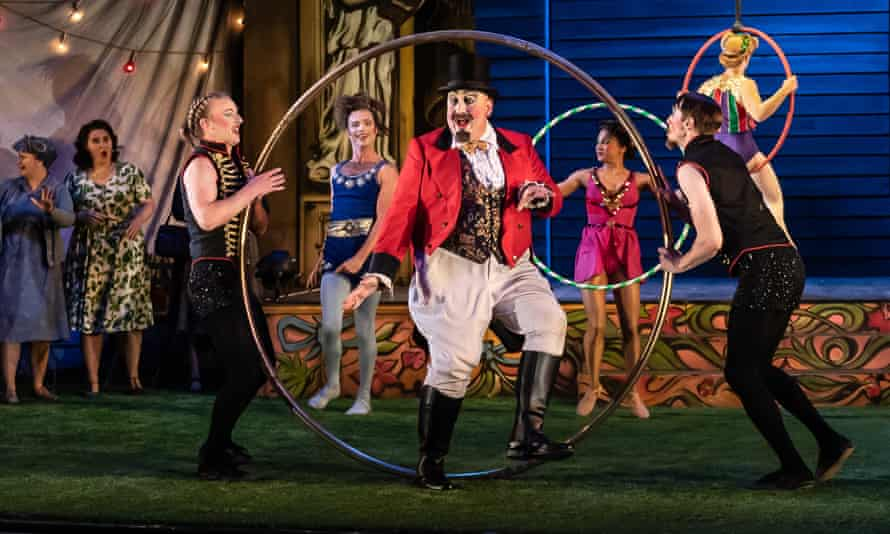 The acrobatic exuberance and tricks have an irresistible theatrical impact... Jeffrey Lloyd-Roberts (centre) as the Circus Master.