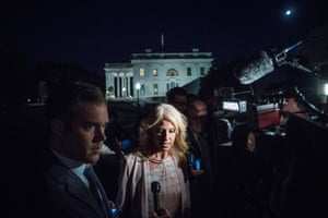 Kellyanne Conway speaks to reporters after Donald Trump terminated James Comey.