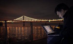 Villareal at work on San Francisco's Bay Lights in 2013.