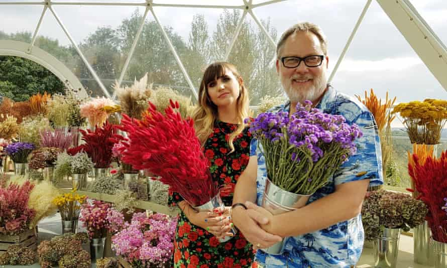 Natasia Demetriou and Vic Reeves, the hosts of Netflix's The Big Flower Fight