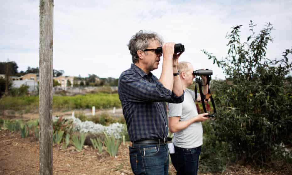Freedom … Jonathan Franzen with Guardian writer Oliver Milman at Natural Bridges Farm in Santa Cruz.