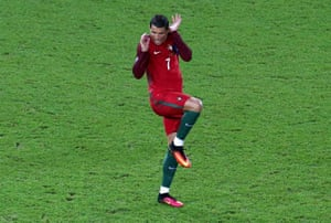 Cristiano Ronaldo of Portugal reacts during their Group F draw against Austria
