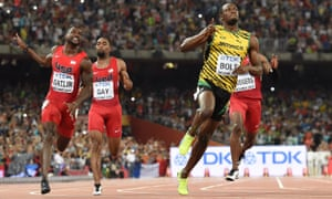 USA's Justin Gatlin with Tyson Gay and the winner of the final of the men's 100 metres, Jamaica's Usain Bolt.