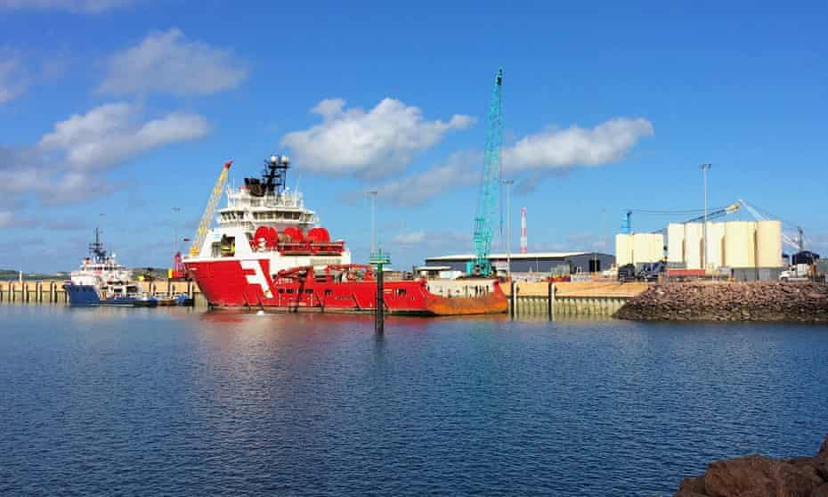 Supply vessels for the offshore gas rigs sit at Darwin port in NT