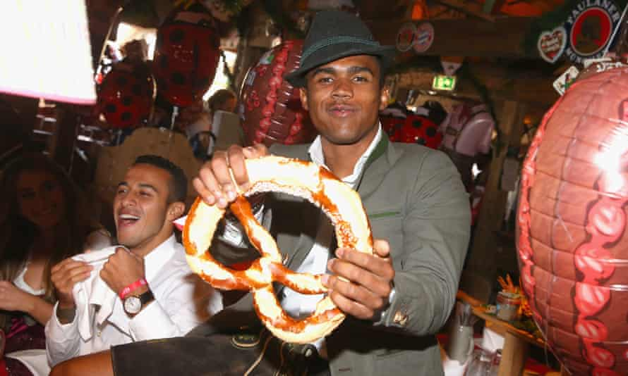 Bayern Munich's Douglas Costa at the Oktoberfest beer festival earlier this month.
