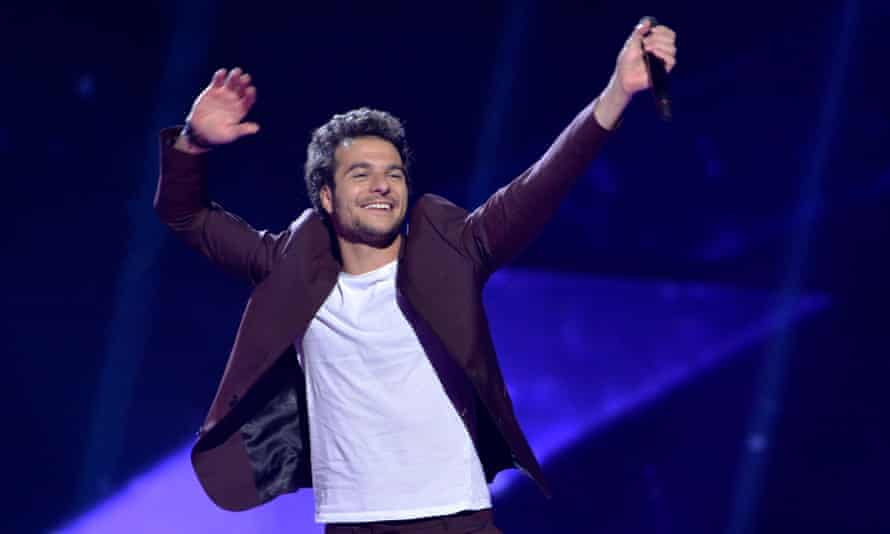 Amir Haddad, who represents France, performs the song J'ai cherche during rehearsals