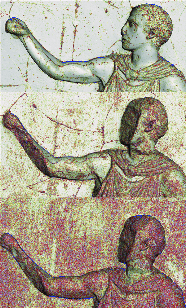 3D models of a figure from the west frieze, coloured to highlight changes in surface texture. Top: Elgin cast, 1802. Middle: Merlin cast, 1872. Bottom: original sculpture.