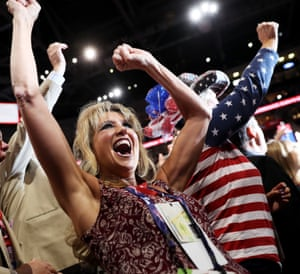 California delegate Kim Davis cheers during roll call on the second day of the Republican National Convention on July 19, 2016 at the Quicken Loans Arena in Cleveland, Ohio. An estimated 50,000 people are expected in Cleveland, including hundreds of protesters and members of the media. The four-day Republican National Convention kicked off on July 18