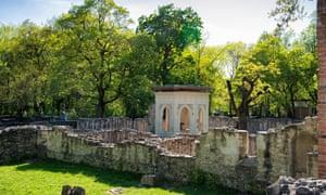 Church ruins on the island. Margaret Island, Budapest, Hungary.