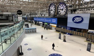 Waterloo station in London remained quiet just at 9am this morning.