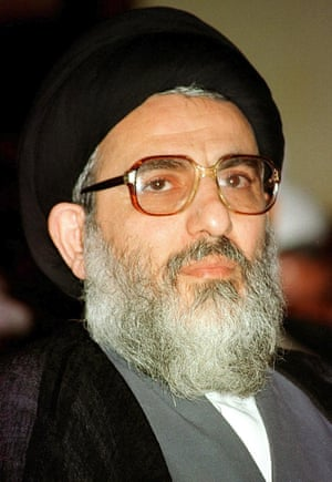 Ayatollah Mahmoud Hashemi-Shahroudi in a ceremony in August 1999, taking over duties from his predecessor Ayatollah Mohammad Yazdi, who is now head of the Assembly of Experts.