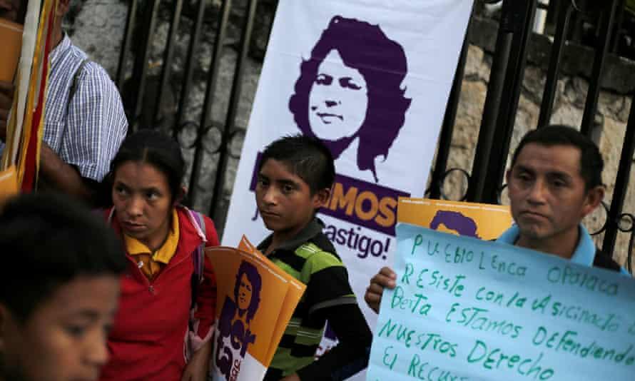 Demonstrators outside court during the murder trial of activist Berta Cáceres in Honduras.