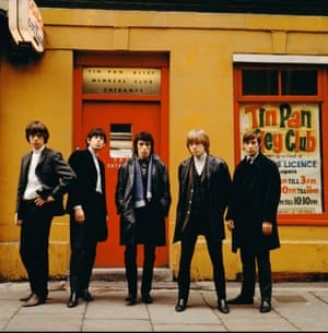 The Rolling Stones line up outside the Tin Pan Alley Club in London, 1963
