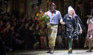 Vivienne Westwood with her husband, Andreas Kronthaler, at Paris fashion week.