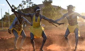 Dancers from East Arnhem Land at the opening ceremony for the National Indigenous Constitutional Convention in Mutitjulu near Uluru on Tuesday.