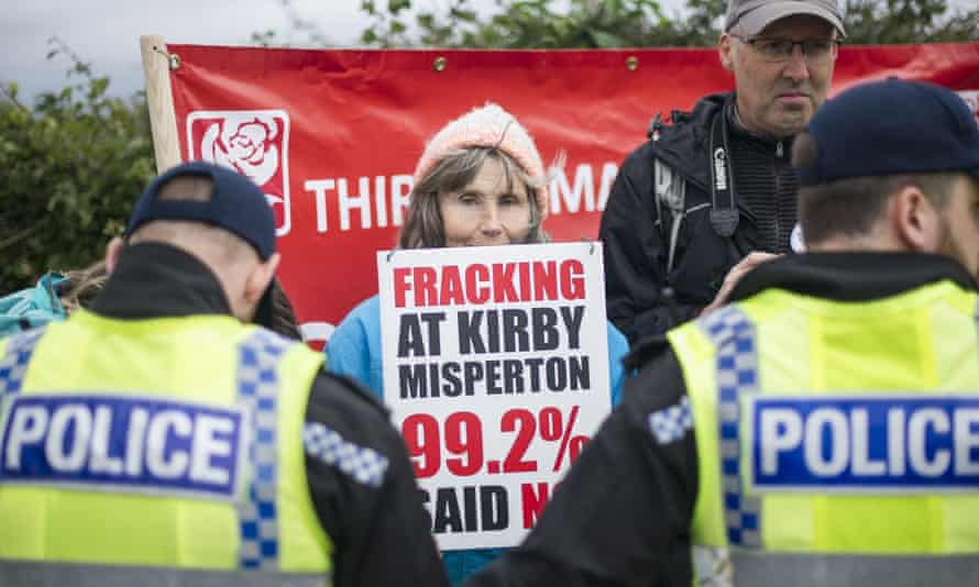 A protester at the Anti-Fracking Demonstration in Kirby Misperton, Lancashire.