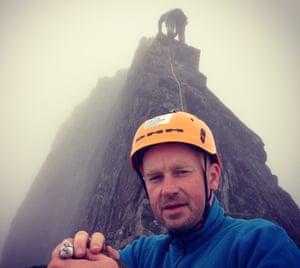 Bleeding fingertips … Andrew on the narrow east ridge, with Matt up ahead.