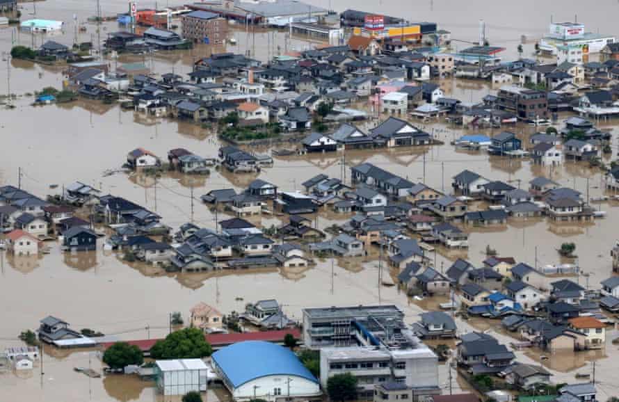 Floods in Kurashiki city western Japan
