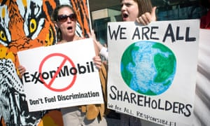 A protest outside the ExxonMobil annual shareholders meeting in Dallas, Texas.