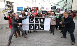 Activists at the launch of a campaign to defend the BBC