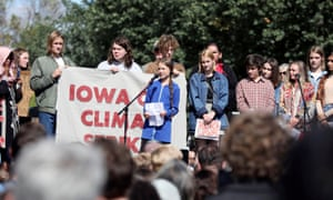 Climate change teen activist Greta Thunberg joins a climate strike march in Iowa City.