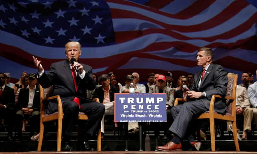 Donald Trump and Michael Flynn during a campaign town hall meeting in Virginia Beach, Virginia.