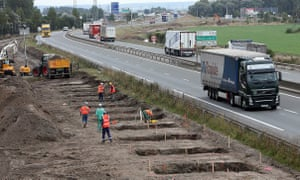 Construction work begins next to the port road to Calais