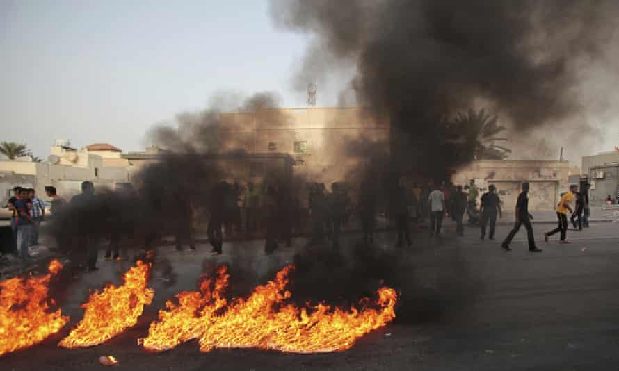 Anti-government protesters in Malkiya, Bahrain