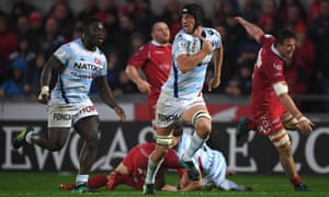 Scarlets v Racing 92 - Heineken Champions Cup LLANELLI, WALES - OCTOBER 13: Racing player Baptiste Chouzenoux races away to score the first try