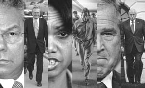 Composite picture of (from left): Colin Powell, Donald Rumsfeld, Condoleezza Rice, Paul Wolfowitz, George W Bush and Dick Cheney