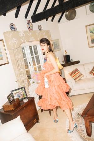 Frills:dress and heels at Christopher Kane