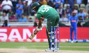 Bangladesh's Mustafizur Rahman is bowled for a duck.