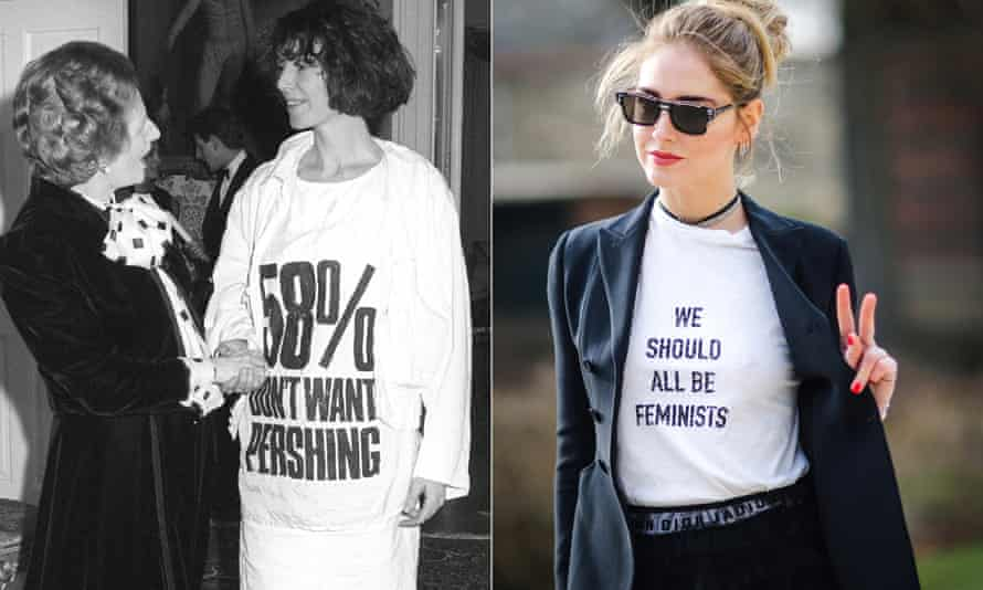 Margaret Thatcher with fashion designer Katharine Hamnett wearing a T-shirt with a nuclear protest message in 1984; and Dior's 2017 'We Should All Be Feminists' design.