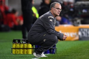 Leeds Manager Marcelo Bielsa watches on from the sideline during the Western Sydney Wanderers and Leeds match at Bankwest Stadium.