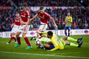 Accrington's Sean Clare, who only signed on loan from Sheffield Wednesday 24 hours earlier, goes close in a first half scramble with Middlesbrough 'keeper Dimi Konstantopoulos.
