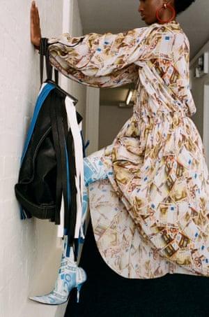 Dress, £1,895, boots, £1,542, bag, £2,195, and earrings, £397, by Balenciaga (balenciaga.com)