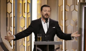 Gervais presenting the Golden Globe Awards earlier this year.