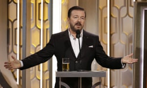 Edgy … Ricky Gervais at the Golden Globes.
