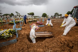 Workers wearing protective gear bury the casket of a Covid-19 victim at a cemetery in Manaus.