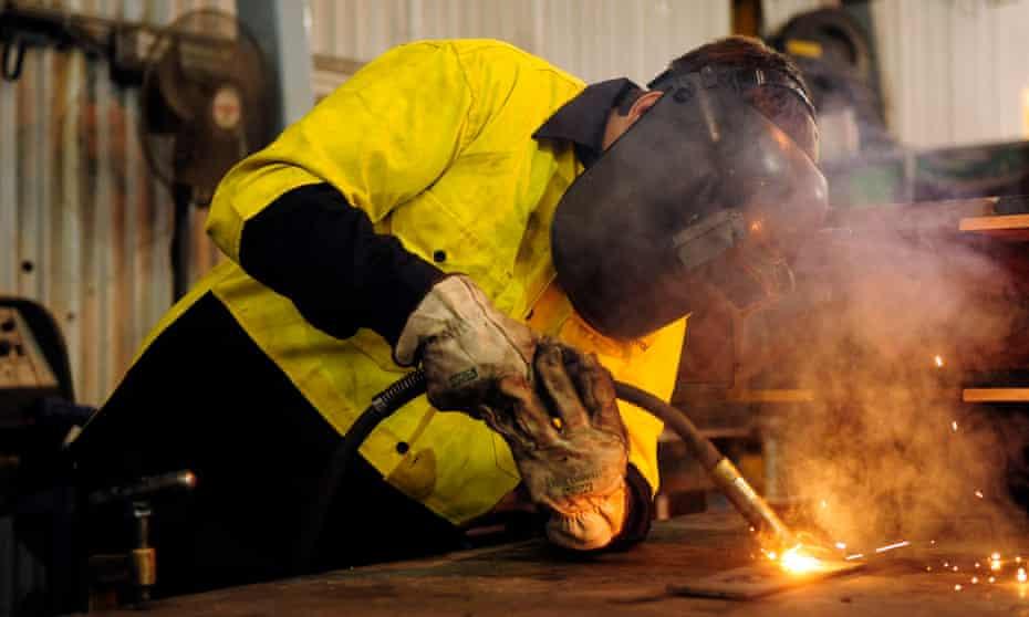 Steelworker welding in Melbourne