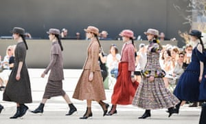 Tweed suits dominated the Chanel catwalk.