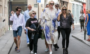 Christie with Nick Grimshaw, her partner Giles Deacon, Kelly Osbourne and Kate Moss, 2018.
