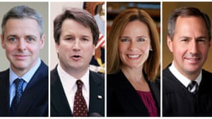 Left to right: Judges Raymond Kethledge, Brett Kavanaugh, Amy Coney Barrett, and Thomas Hardiman are being considered by Donald Trump for the US supreme court.