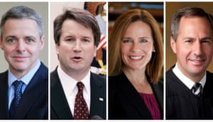 From left to right: judges Raymond Kethledge, Brett Kavanaugh, Amy Barrett and Thomas Hardiman are being considered by Donald Trump for the US supreme court.