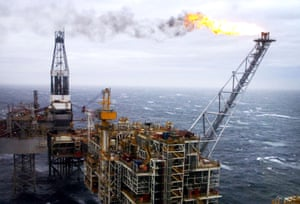 An oil rig in the North Sea,.