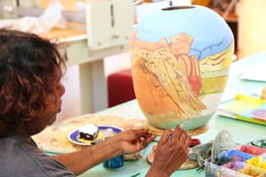 Hayley Coulthard at work inside the studio of the Hermannsburg Potters