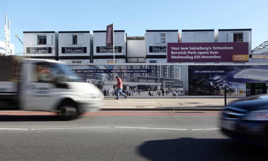 The site of Tottenham's new ground, with redevelopment underway, taken in 2013.