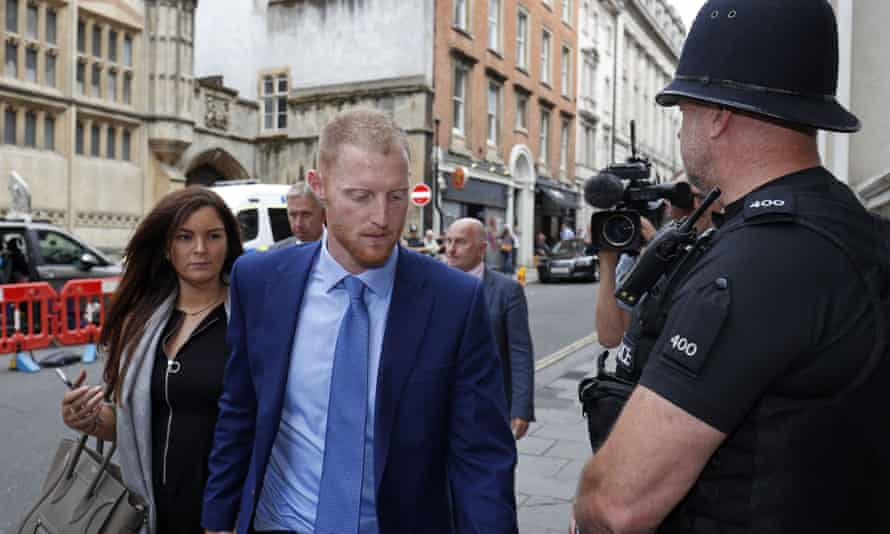 The England cricketer Ben Stokes and his wife, Clare, outside Bristol crown court