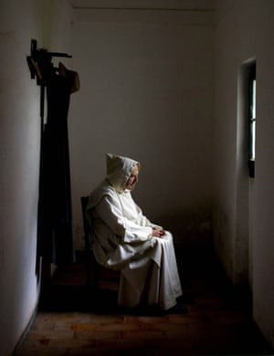 A Carthusian monk in his cell in Evora, Portugal